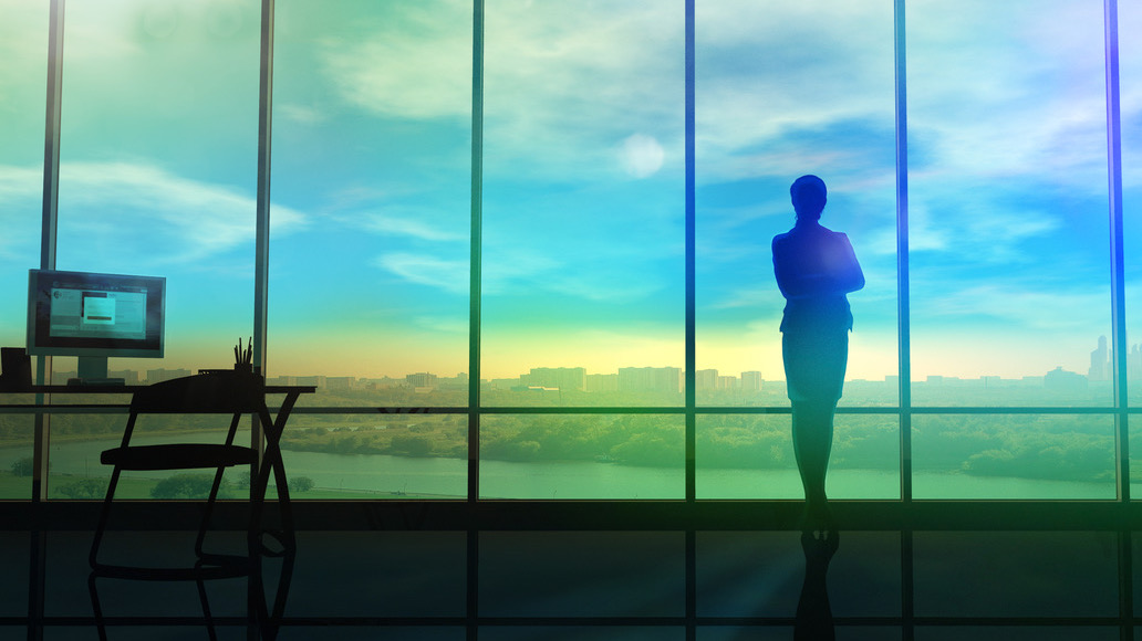 A silhouette of the business lady